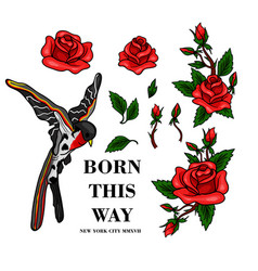 Flying bird and red roses stickers for embroidery vector