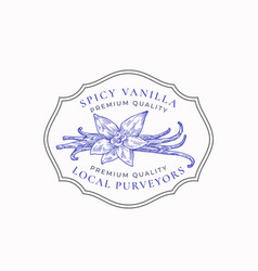 Fragrant spicy vanilla abstract sign vector