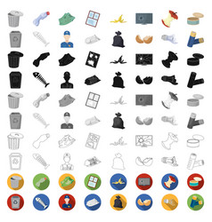 garbage and waste cartoon icons in set collection vector image