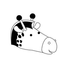 Giraffe cartoon head in black dotted silhouette vector