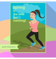 Girl is running in the field vector