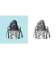 Gorilla astronaut character monkey spaceman vector
