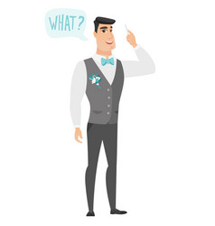 Groom with question what in speech bubble vector