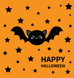 happy halloween black bat flying stars silhouette vector image