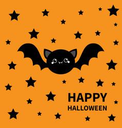 Happy halloween black bat flying stars silhouette vector