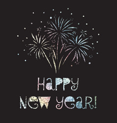 happy new year firework black vector image
