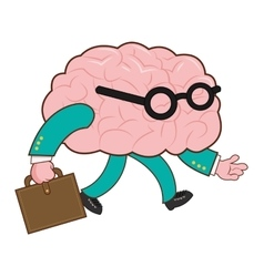 Human brain with briefcase icon vector