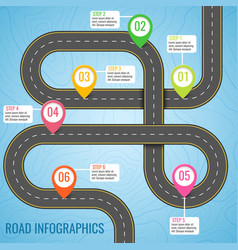infographics template with road map using pointers vector image