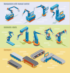 Isometric industrial automated factory horizontal vector