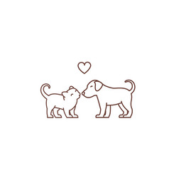 kitten kisses puppy logo or icon friendship of vector image