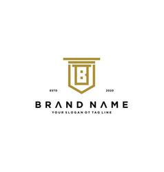 Letter b shield law logo design concept vector