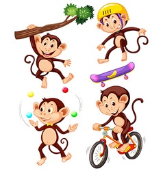 Little monkeys doing different actions vector image