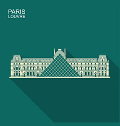 louvre in paris flat icon with long shadow vector image