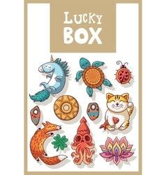 Lucky amulets and happy symbols collection vector