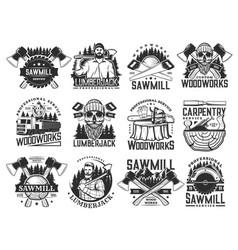 Lumberjack sawmill lumbering service icons set vector