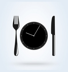 Lunch time linear icon dinner break afternoon vector