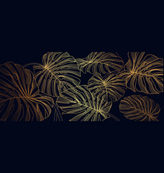 luxury gold line art and natural background vector image