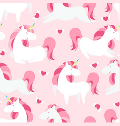 Magic unicorn seamless pattern modern fairytale vector