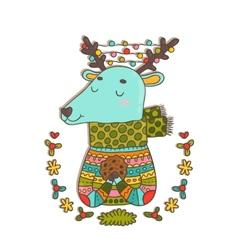 Merry Christmas cute cartoon hand drawn deer vector