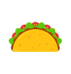 mexican cuisine fast food delicious taco drawing vector image