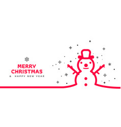 minimal line snowman background vector image