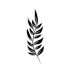 minimalist tattoo branch foliage silhouette art vector image