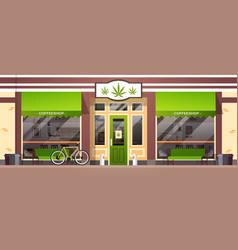 Modern cannabis store marijuana organic shop vector