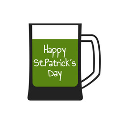 mug with green beer vector image