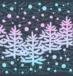 new year seamless pattern with christmas trees and vector image