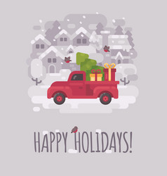 old red farm truck with a christmas tree and vector image