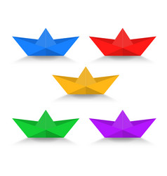 paper boat with shadow color set vector image