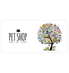 Pet shop banner art tree design with place for vector