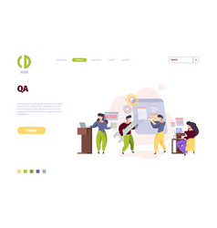 qa landing page web app testing software vector image
