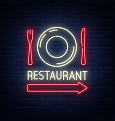 Restaurant logo sign emblem in neon style a vector