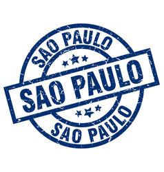 Sao paulo blue round grunge stamp vector