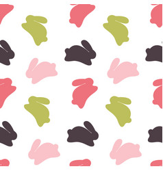 Seamless bunny pattern on white background vector