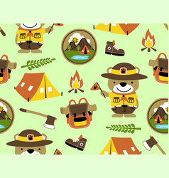 seamless pattern with funny scout camping vector image
