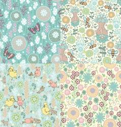 set floral patterns vector image