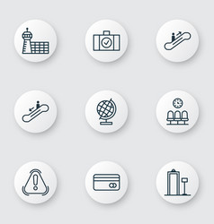 Set of 9 transportation icons includes plastic vector