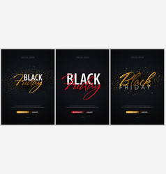 set of black friday sale calligraphic banners vector image