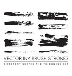 Set of Black Pen Ink Brush Strokes Grunge Ink vector