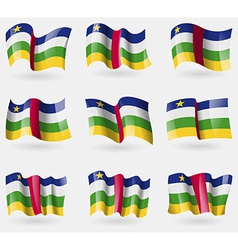 Set of Central African Republic flags in the air vector image