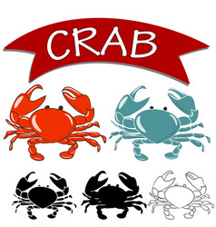 set of cooked crab and live crab vector image