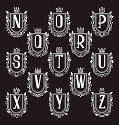 Set of royal coat of arms letters from n to z vector