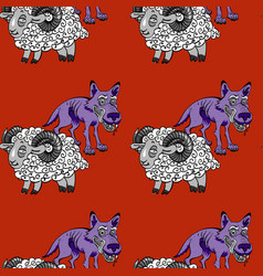 Sheep and wolves seamless pattern vector