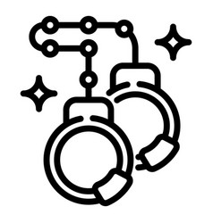 Steel handcuffs icon outline style vector