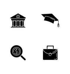 Student loan black glyph icons set on white space vector