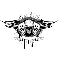 Three skulls tribal vector
