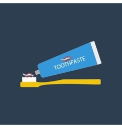 Toothbrush and toothpaste vector image