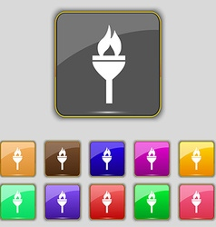 Torch icon sign Set with eleven colored buttons vector image
